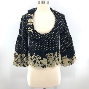 Elevenses Polka Dot Cropped Blazer Jacket Black 4